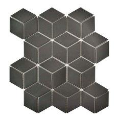 "10.5""x12.13"" Victorian Rhombus Mosaic Floor/Wall Tile, Glossy, Set of 10, Gray"