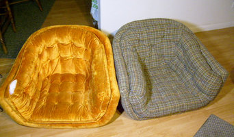 2-barrel back chairs- redesigned from original upholstery to a custom look.