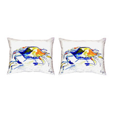 Pair of Betsy Drake Yellow Crab No Cord Pillows 16 Inch X 20 Inch