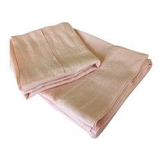 Ballet Slipper Pink Linen Bed Sheet Set, Cal King