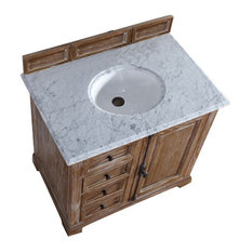 "Providence 36"" Driftwood Single Vanity w/ 2cm Carrara White Marble Top"