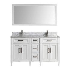 Vanity Art Vanity Set With Carrara Marble Top White Standard Mirror 60-inch