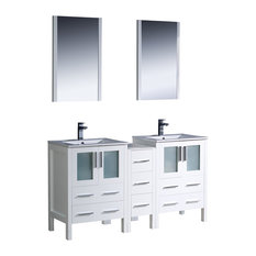 Torino 60-inch White Double Sink Bathroom Vanity Side Cabinet Integrated Sinks