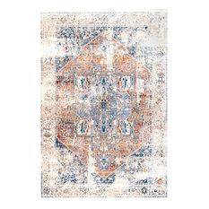 Ehtel Medallion Fringe Traditional Area Rug, Ivory, 10'x13'