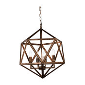 """20"""" 4-Light Up Pendant, Antique forged Copper"""