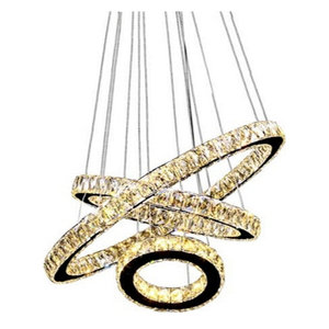 "3 Circle Diamond Ring LED Crystal Modern Light  Pendant, Diameter 32"" SoftWhite"