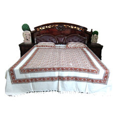 Mogul Interior - Cotton Paisley Printed Indian Inspired Bedcover, Set Of 3 - Sheet And Pillowcase Sets