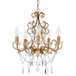 "Amalfi Decor - Theresa 5-Light Wrought Iron Crystal Chandelier, Gold - Dimensions of Chandelier: 15.5"" (L) x 15.5"" (W) x 15.5"" (H)"