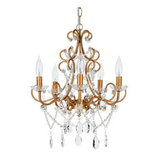 Theresa 5-Light Wrought Iron Crystal Chandelier, Gold