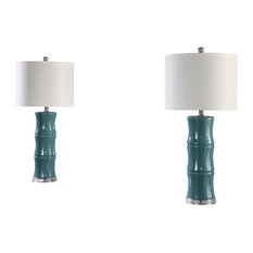 Abbyson Living Maxiell Ceramic Table Lamps, Set of 2, Teal