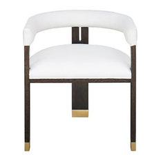 Worlds Away Jude White Accent Chair, Dark Espresso Oak