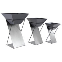 """Set of 3 Modern 19, 24 and 29"""" White and Black Tin Plant Stands"""