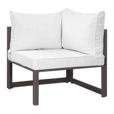 Fortuna Corner Outdoor Aluminum Sectional Sofa, Brown White