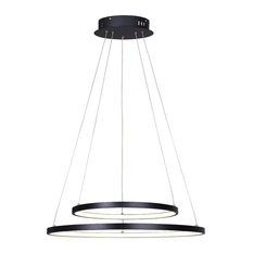Canarm Lexie Wide Cord LED Chandelier, Matte Black With Acrylic Lens