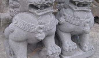 Carved Stone Foo Dog Guardian Lion Statues for Home & Garden (medium)