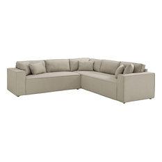 Petra Linen Sectional Sofa Beige