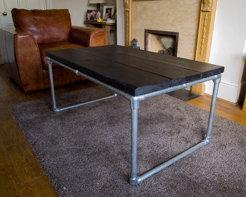 Charmant Galvanised Stainless Steel Tube And Reclaimed Wood Coffee Table