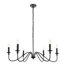 Elegant Living District Rohan Collection Chandelier, Matte Black