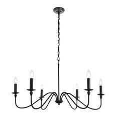 Elegant Living District Rohan Collection Chandelier, Matte Black