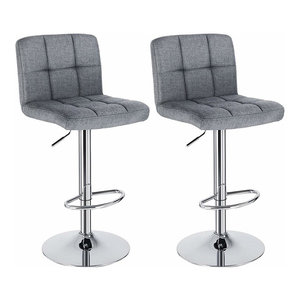 Modern Set of 2 Bar Stools, Steel With Linen Fabric Seat, Smoke Grey Finish
