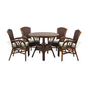 Set Of 4 Alexa Dining Armchairs With Cushion and Round Dining Table, Dark Walnut