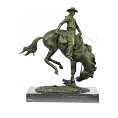 Remington Bronco Buster Bronze Sculpture, Finest Usa Lost Wax Casting Decor