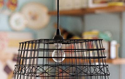 DIY: Basket-Shade Pendant Light