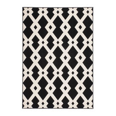 Contemporary Low-Pile Area Rug, Black and White, 160x230 cm