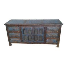San Marcial Rustic Reclaimed Wood 6 Drawer Bathroom Vanity Navy Blue 48-inchx22-inchx3