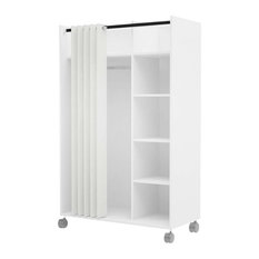 Atlin Designs 4 Cubby Mobile Curtain Storage Unit in White and Natural