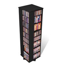 Prepac Furniture - Prepac Large 4-Sided CD DVD Spinning Media Storage Tower in Black - Media Racks and Towers