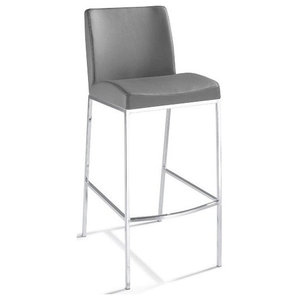 Santos Leather Counter Stool, Gray Leather