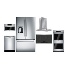 """6 Piece Kitchen Appliances Package with 36""""  French Door Refrigerator  27"""" Elect"""