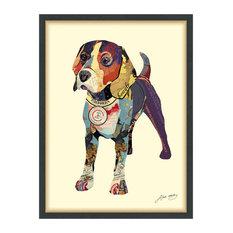 Beagle Dog Dimensional Handmade Collage Wall Art Framed Under Glass