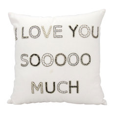 "Mina Victory Luminecence ""I Love You Sooo Much"" White Throw Pillow"
