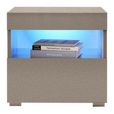 Viv Modern High Gloss Nightstand With LED Lights and Optional Wall Mount, Gray