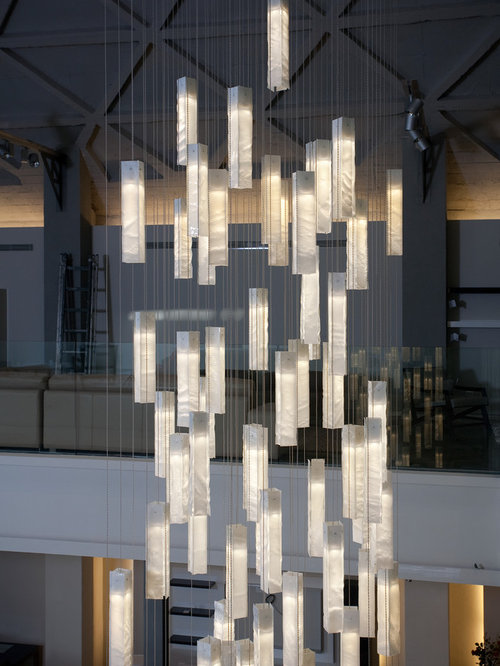 MODERN FOYER CHANDELIER, MODERN ENTRY STAIRWAY LIGHTS FOR HIGH CEILING FOYER,  WH - Pendant