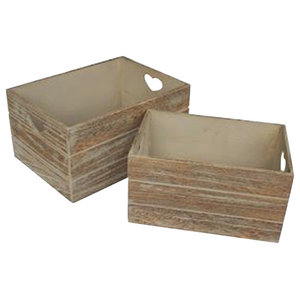 Oak Effect Heart Cut Handle Wooden Storage Crate, Set of 2