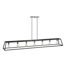 Fulton 7-Light Stem Hung Linear Chandelie Aged Zinc