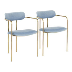 Demi Contemporary Chair in Gold Metal and Light Blue Velvet, Set of 2