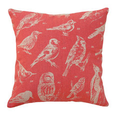 Bird Watch Printed Linen Pillow With Feather-Down Insert, Coral Red