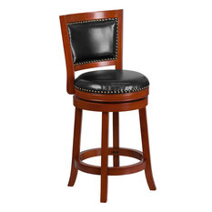 26-inch High Light Cherry Wood Counter H Stool With Black Leather Swivel Seat