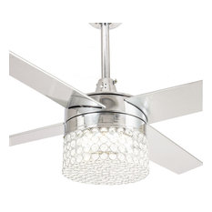 """48"""" Modern Crystal Chandelier Ceiling Fan With LED Light, 4 Blades, Chrome"""