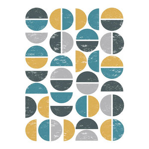 Modern Abstract Circles Print in Blue, Grey and Gold, 12x18 cm