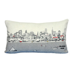 Prince Sized Philadelphia Skyline Cushion, Cream