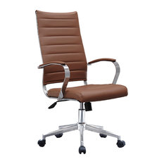 Ergonomic High Back Swivel Boss Ribbed PU Leather Office Chair Modern, Brown