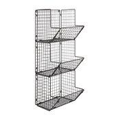 Rustic Wire 3 Tier Wall Mounted Kitchen Produce Bin Rack/Bathroom Towel Baskets