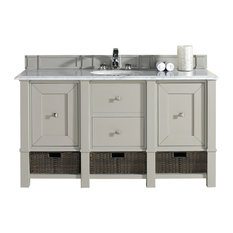 "Madison 60"" Single Vanity Cabinet, Dove Gray, 2cm Black Rustic Stone Top"