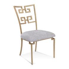 Bassett Mirror Milos Side Chair With Glazed Brass Finish 6730-DR-800