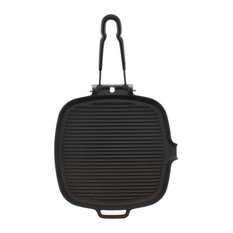 """Chasseur 9"""" Square French Cast Iron Grill With Folding Handle"""